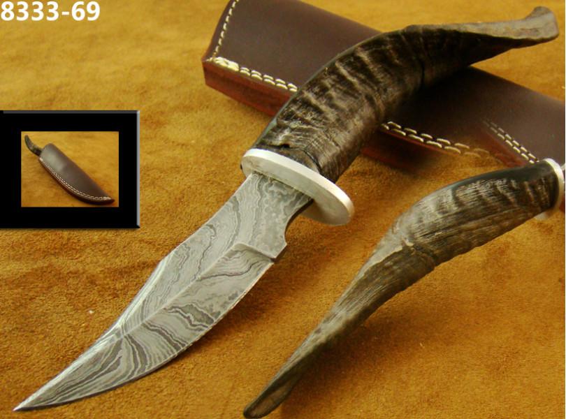 Sheep Horn Damascus Skinner Knife